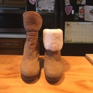 UGG Brown Suede Sheepskin Heeled Boots